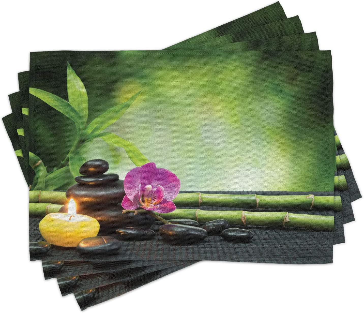Ambesonne Spa Some reservation Sale price Place Mats Set of Stems Stones Orchid Ja 4 Bamboo