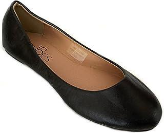 Shoes 18 Womens Classic Round Toe Ballerina Ballet Flat Shoes, Black Pu 8600, 6