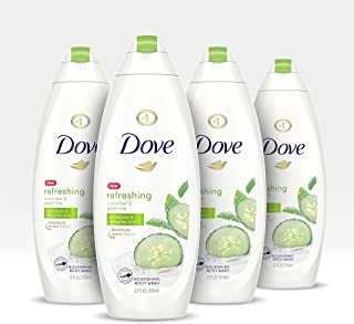 Dove Sulfate Free Body Wash, Cucumber and Green Tea, 22 oz, Pack of 4