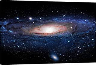 LightFairy Glow in The Dark Canvas Painting - Stretched and Framed Giclee Wall Art Print - Milky Way Galaxy - Master Bedroom Living Room Decor - 6 Hours Glow - 46 x 32 inch