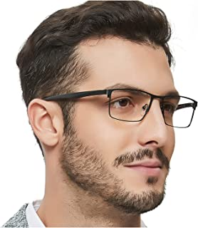 OCCI CHIARI Mens Rectangle Eyewear Full-Rim Metal...