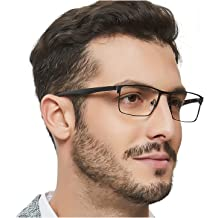 8b9cc18072 OCCI CHIARI Mens Rectangle Eyewear Full-Rim Metal Non-Prescription Clear  Optical Glasses