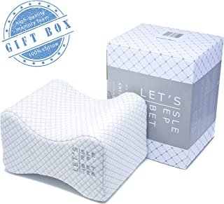 LET'S SLEEP BETTER - PREMIUM knee pillow for side sleepers | IMPROVED memory foam leg elevation cushion | Healthier joint-spine-alignment | Hip + back pain relief | Pregnancy and after surgery support