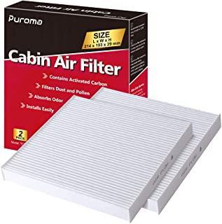 Puroma 2 Pack Cabin Air Filter with Multiple Fiber Layers Replacement for CP285, CF10285, Toyota 2005-2018, Scion 2008-201...