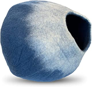 100% Natural Wool Large Cat Cave - Handmade Premium Shaped Felt - Makes Great Covered Cat House and Bed for Kitty. for Indoor Cozy Hideaway. Large Pod Soft Hooded Bed Area.