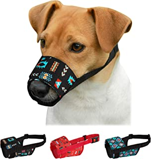 CollarDirect Dog Muzzle for Small Medium Large Dogs Soft Breathable Nylon Safety Pattern Mouth Cover Anti Biting Barking P...