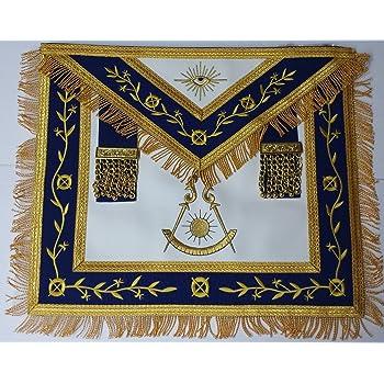 Masonic Apron-Embroidered Past Master Apron Royal Blue (Blue & Gold)