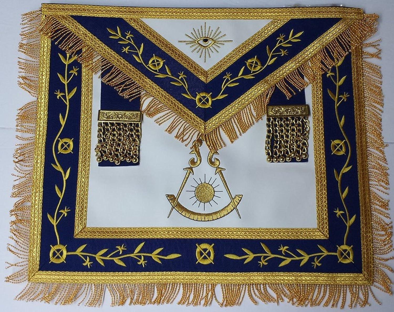Masonic Apron-Embroidered Past Master Apron Royal bluee (bluee & gold )