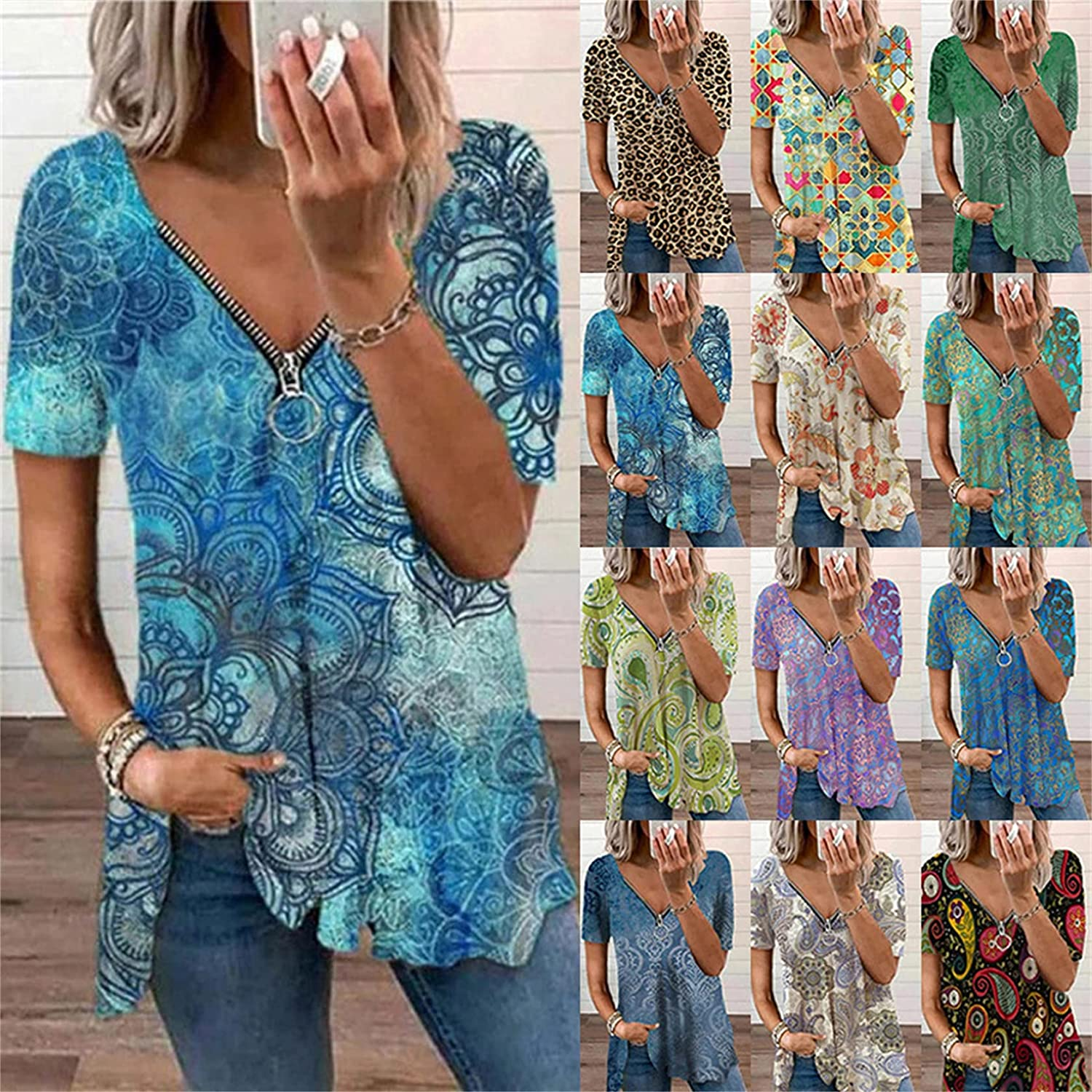 Andongnywell Women's Printed Zipper Pullover Top Short Sleeve V Neck Casual Loose Blouse Henley Shirt Blouses Tunics