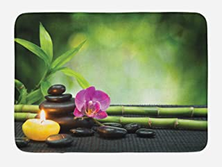 Ambesonne Spa Bath Mat, Orchid Bamboo Stems Chakra Stones Japanese Alternative with Feng Shui Elements, Plush Bathroom Decor Mat with Non Slip Backing, 29.5