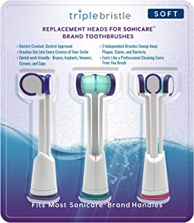 Compatible with Sonicare - Three Headed Replacement Toothbrush Heads - Fits ONLY DiamondClean, Flexcare+, HealthyWhite+, 2 Series Plaque Control, 3 Series Gum Health (Soft Bristles 3 Pack)
