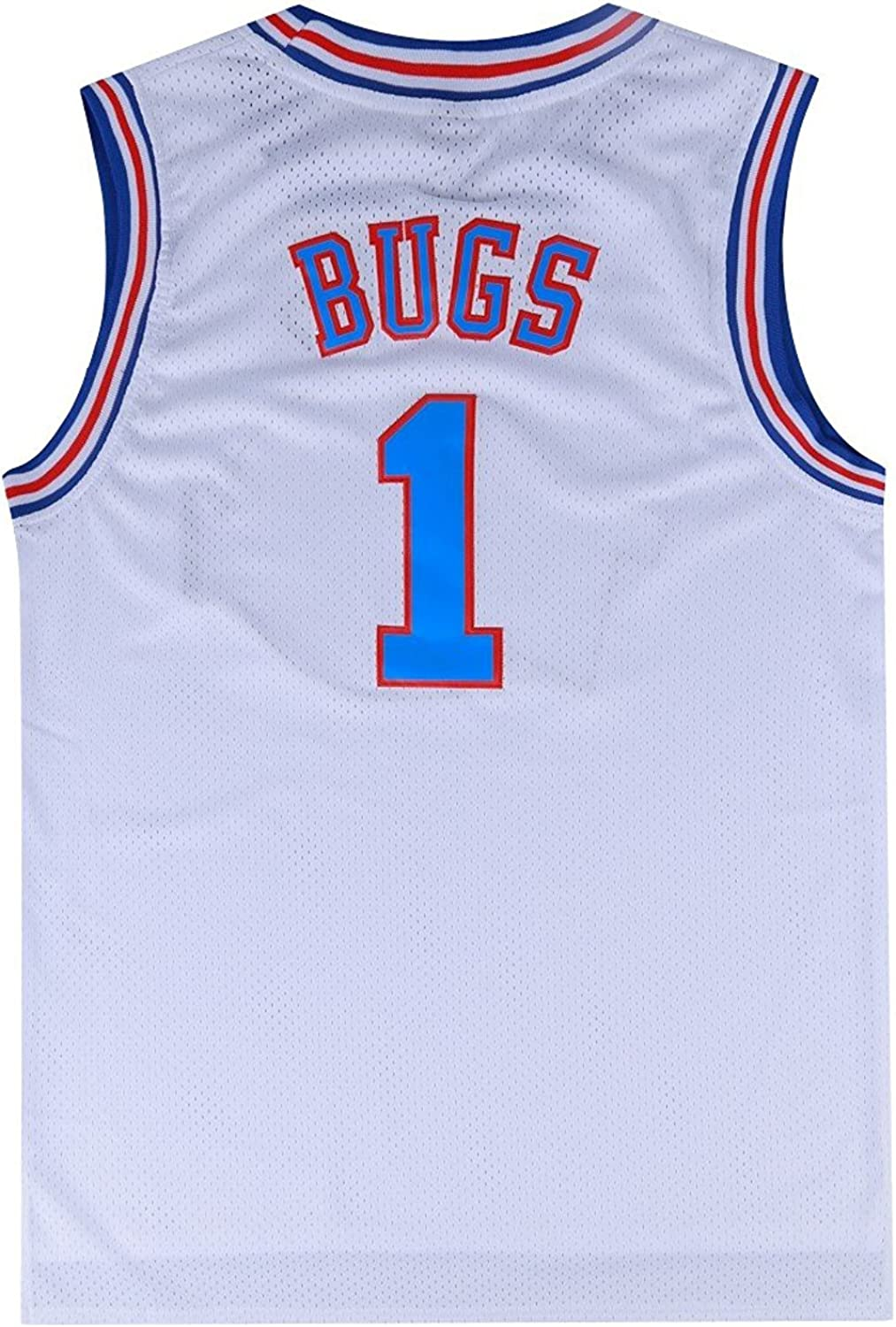 BOROLIN Mens Basketball Jersey Bugs #1 Space Jersey White/Black/Blue 90s Hiphop Party Clothing