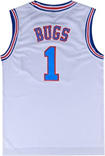 Mens Basketball Jersey Bugs Bunny #1 Space Jam Jersey White/Black