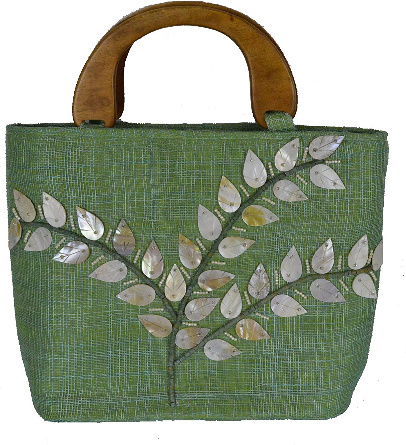 13.5 L Cozumel Lime Green Small ToteStyle Handbag with Seashell and Bead Inlay and Double Wood Handles