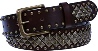 """1 1/2"""" Unisex Snap On Nail Heads Punk Rock Star Studded Solid Leather Belt"""
