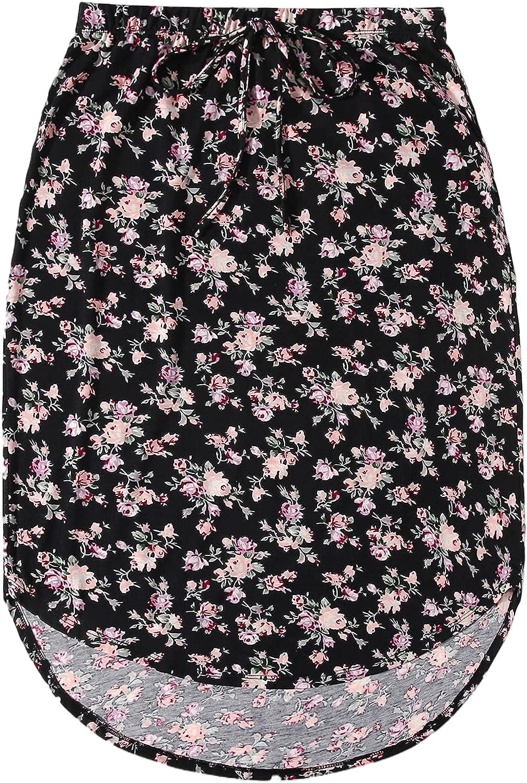 Milumia Women's Elastic High Waist High Low Curved Hem Short Skirt