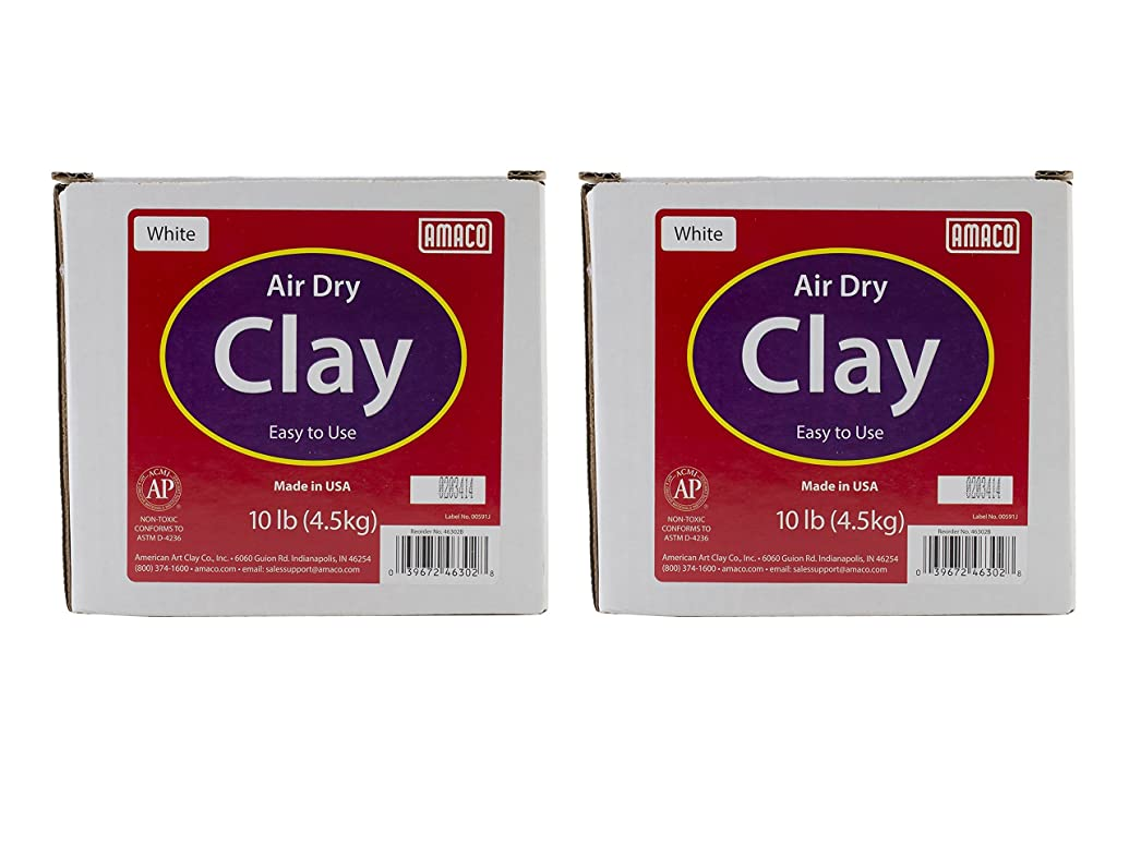 AMACO Air Dry Modeling Clay, 10-Pound, White (2 pack)