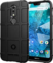 Sun Van Case + Film Compatible for Nokia 7.1, Rugged Shockproof Anti-Scratch Shock Absorption Protective Back Cover w/Tempered Glass Screen Protector for Nokia 7.1 (Black)