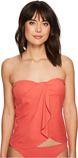 Vince Camuto - Riviera Solids Draped Bandini Top w/ Soft Cups & Removable Strap