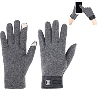 ITODA Driving Men Warmer Gloves, Touchscreen Typing Texting Hand Wrist Soft Plush Lining Windproof Driving Cycling Running Cold Weather Winter Mitten