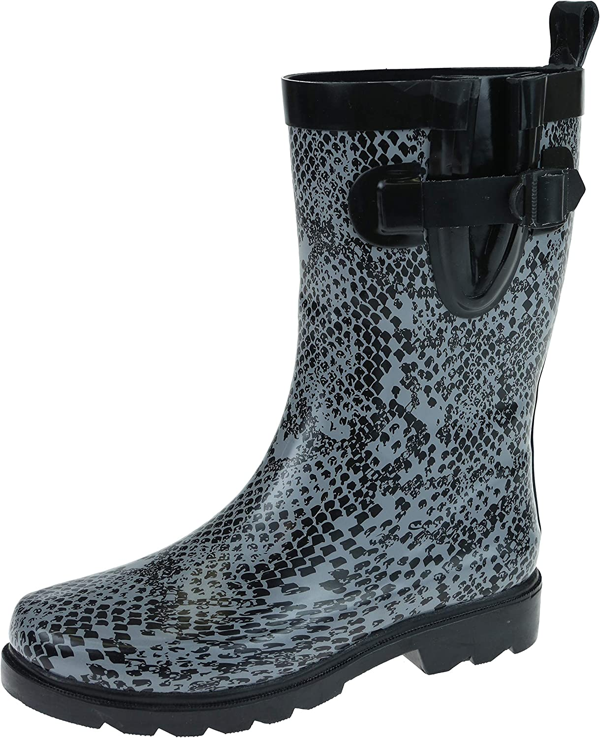 Capelli New York Shiny Python Printed with Buckle, Gusset and Back Pull Loop Ladies Mid-Calf Sporty Rain Boot Black Combo Size