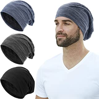 SATINIOR 3 Pieces Slouchy Beanie Hat Skull Cap for Men Women Knit Hat Sleep Cap