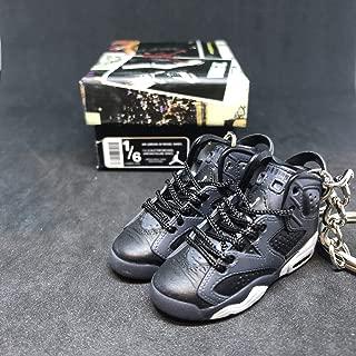 Pair Air Jordan VI 6 Retro Cool Grey Black OG Sneakers Shoes 3D Keychain 1:6 Figure + Shoe Box