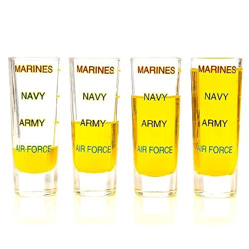Marine Corps Shot Glass Levels 4 Pack Military Veteran Gift Set