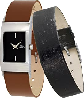 Moog Paris Classic Womens Watch with Black Dial, Brown Strap in Genuine Leather - M41622