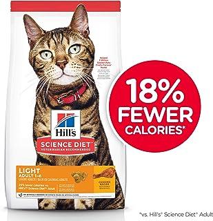 Hill's Science Diet Adult Light, alimento seco para gatos adultos, receta de pollo, para control de peso, bulto de 7.3 kg.