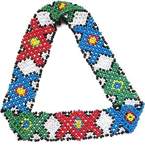 WigsPedia Native American Pattern Elastic Handmade Stretch Seed Bead Beaded Headband Hair Accessories (Red/Green/Blue)
