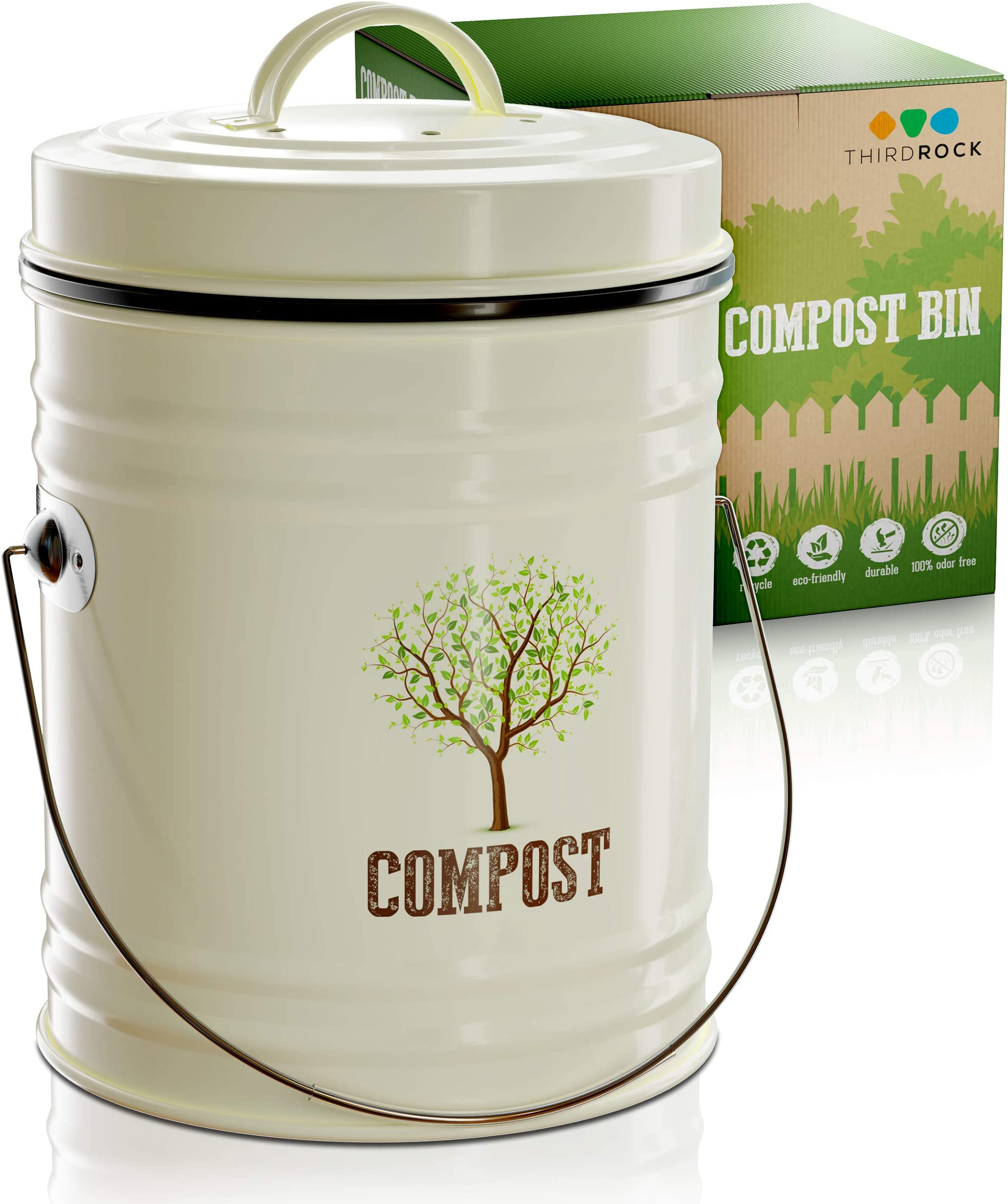 Third Rock Compost Bin - 1.0 Gallon Compost Pail with Inner Compost Bucket Liner - Premium Dual Layer Powder Coated Carbon Steel Countertop Compost Bin - Includes Charcoal Filter