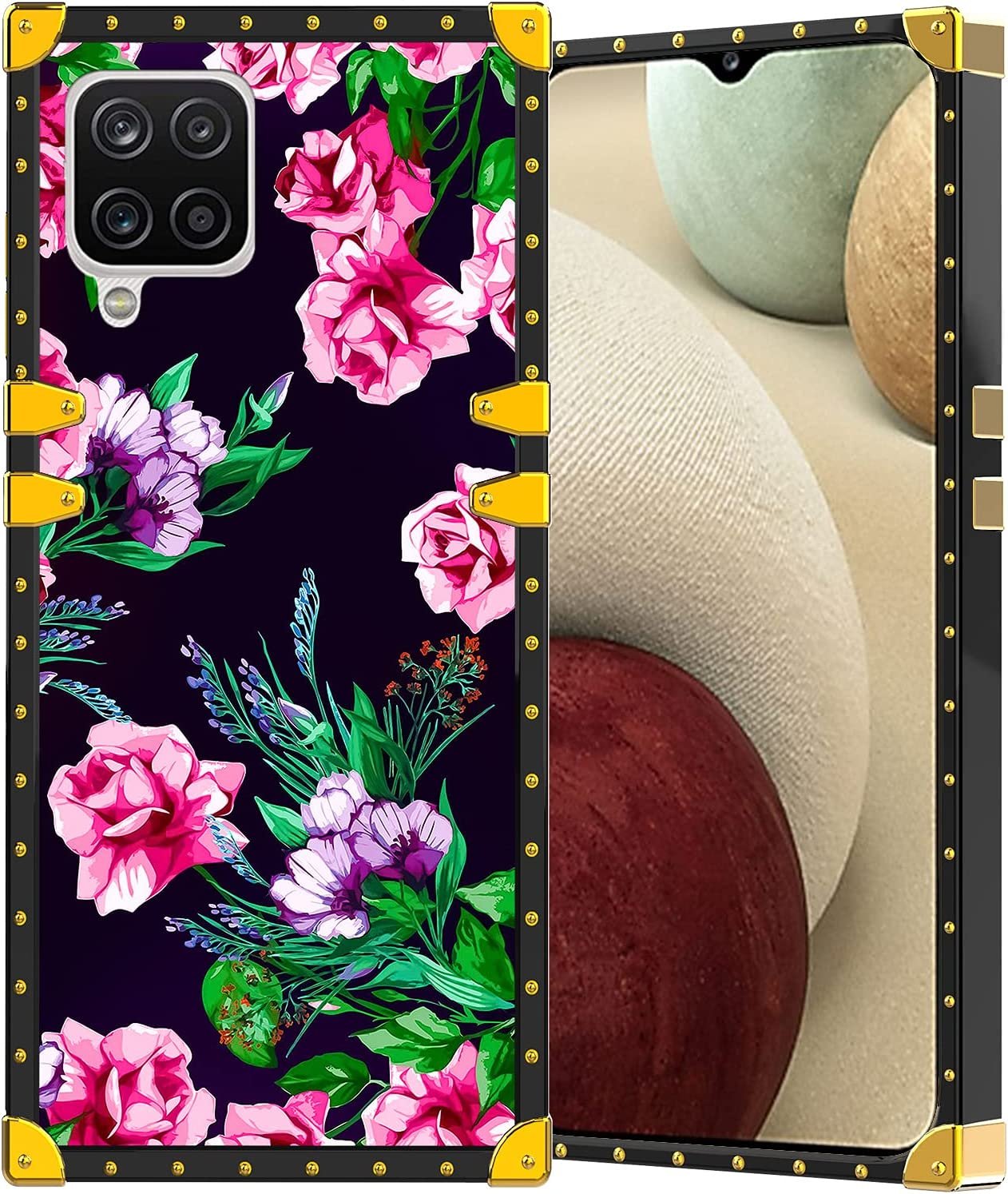 LSL Compatible with Samsung Galaxy A12 Phone Case 6.5 Inch Luxury Pink Purple Flower Floral Pattern Hard PC Shield Scratch-Proof Soft TPU Shock-Absorption Anti-Fall Protective Cover for Women Girls