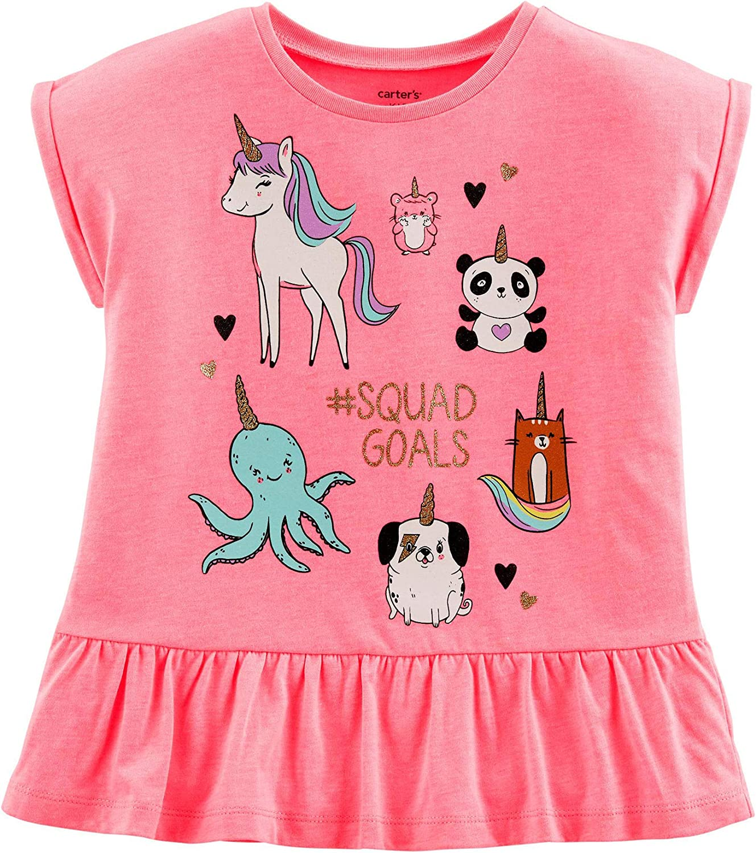 Carter's Girl's Neon Pink Unicorn Squad Goals Peplum Tee
