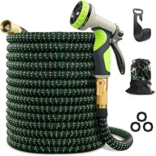 "VIENECI 100ft Garden Hose Expandable Hose, Durable Flexible Water Hose, 9 Function Spray Hose Nozzle, 3/4"" Solid Brass Connectors, Extra Strength Fabric, Lightweight Expanding Hose"
