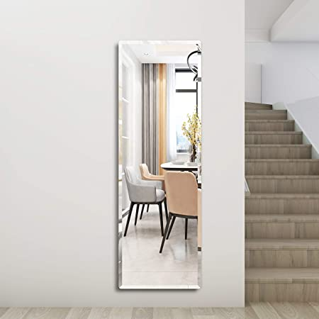 Honyee Wall Mounted Mirror Contemporary Beveled Full Length Mirror Rectangular Frameless Mirror Door Mirror 20 X 60 Kitchen Dining