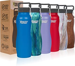 Healthy Human Water Bottle Curve, BPA Free Metal Stainless Steel Sports Water Bottles, Durable Leak Proof Insulated Waterbottle Flask