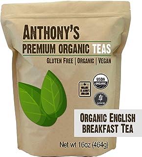 Anthony's Organic English Breakfast Loose Leaf Tea, 1 lb, Gluten Free, Non GMO, Non Irradiated, Keto Friendly