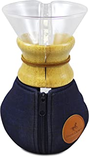 Blue Horse Cozy for Chemex Coffee Maker (Large Wood Collar)