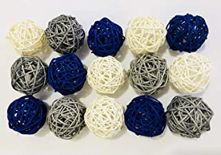 Supla 21 Pcs//lot Mixed 3 Colors Rattan wicker balls Vase Fillers for Wedding Party Christmas decoration Assorted Three Size 3cm//5cm//7cm