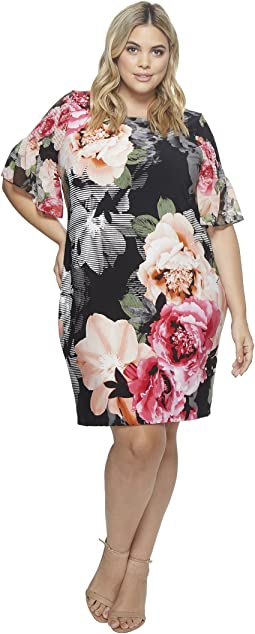 Plus Size Printed Gathered Sleeve Dress