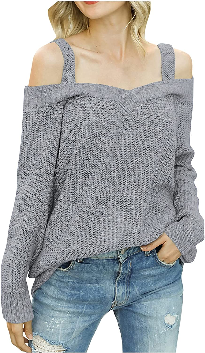 Sexy Strap Cold Shoulder Knit Sweater Tops for Women's Long Sleeve Solid Casual Loose Jumper Sweaters