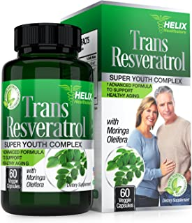 Trans Resveratrol Antioxidant Supplement - Best Anti Aging Pills for Women/Men - Polyphenols, EGCG Green Tea Extract, Vitamin C, Grape Seed for Weight Loss, Immune and Heart Health - Veggie Capsules