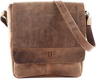 LECONI große Umhängetasche DIN A4 Schultertasche Messenger Bag Kuriertasche Businesstasche Klettverschluss Leder vintage 31x34x10cm LE3063