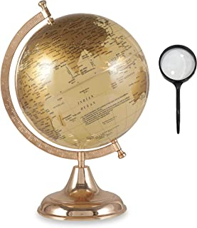 Educational Geographic World Globe with Free Magnifying Glass, Easy to Read, Decorative Earth Globe for Classroom Geography Teaching, Kids Learning, Desk & Office Decoration, Gold - 10 inch