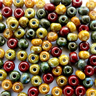 4mm Czech Glass Picasso Beads Size 60 Czech Seed Beads Matte Selva Picasso Mix Dry Gulch Full Strand of 180-190 Beads