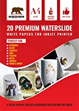 Kodiak Supplies A4 Waterslide Decal Paper INKJET WHITE - 20 Sheets - DIY A4 water slide Transfer WHITE Printable Water Slide Decals A4 20 Sheets (B07HGQPG2C)
