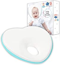 Newborn Baby Head Shaping Pillow with Removable Washable Pillow Cover | Flat Head Syndrome Prevention | (Pick Your Color) (L. Blue)