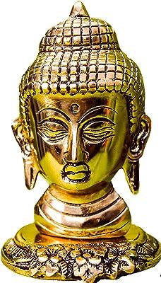 Goraiya International Brass Plated Decorative Lord Buddha Face on Stand Showpiece (9 x 14 cm)