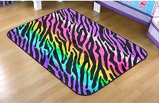 Your Zone Rainbow Zebra Faux Mink Rectangular Rug Multi-Color 30 x 46
